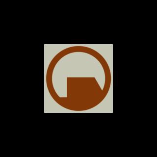 El logotipo de Black Mesa como se ve en el camión