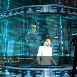 Mossman junto a Eli en el teletransportador de la alianza