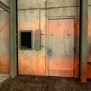 Dispositivo al lado de una puerta en un área de mantenimiento