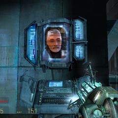 Breen hablando directamente a Gordon en un Monitor en la Ciudadela