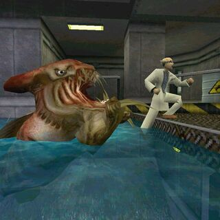 Beta del ictiosaurio atacando a un científico
