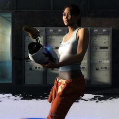 Chell sobre Gel de Conversión en Portal 2