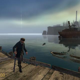 Pescador caminando ante el mar de St. Olga