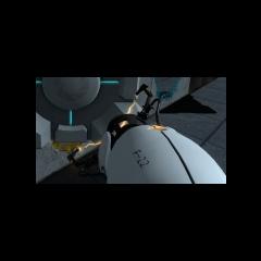 Versión Beta de la Pistola de Portales, con la etiqueta