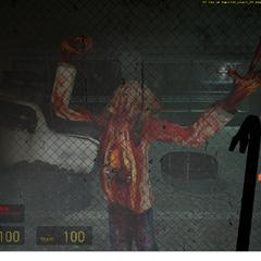 Zombie golpeando un vidrio en un tunel(la unica vez que se ve esto)