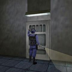 Calhoun tocando a una puerta en el Area 3 visto al principio de Half-Life