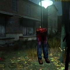 Pies de un zombie colgado en el inicio de Ravenhom