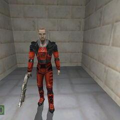 Modelo antiguo de Freeman con el traje HEV rojo