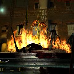 Zombies empalados en una trampa de propano