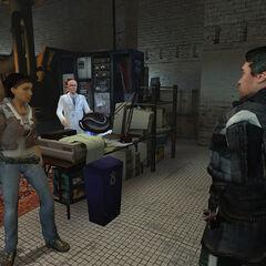 Alyx, Dr. Kleiner y Barney en el Laboratorio de Kleiner