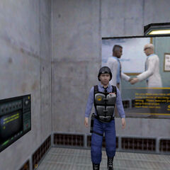El guardia recibiendo a Calhoun tras abrirle la puerta