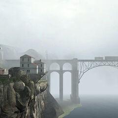 Tren razor pasando por un puente