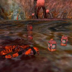 Miembro de expedición muerto con caja de armas y baterias cerca