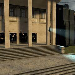 Soldados Combine saliendo del edificio.