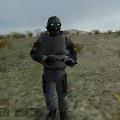 Soldado Overwatch equipado con una USP