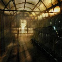 Trenes Razor y personas en una de las primeras estaciones de Ciudad 17.