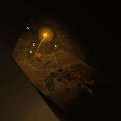 Científico muerto con caja de armas bajo el agua, cerca del escondite de los Chumtoad