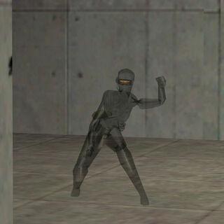 Asesina Black Ops lanzando una granada con su camuflaje activado