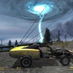 Muscle Car estacionado en frente de la Tormenta de Portales