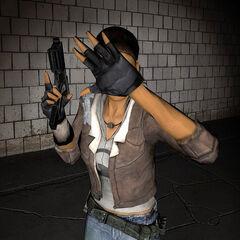Alyx protegiendose de la linterna de Gordon mientras lleva su Pistola