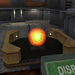 Bennet escapando por el portal del teletransportador