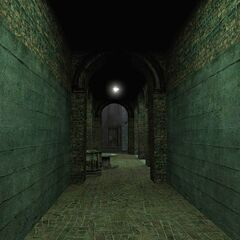 El pasillo visto en la captura de pantalla oficial, desde enfrente.