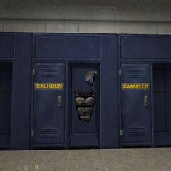 El equipamiento de Calhoun en su casillero