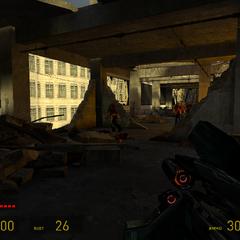 Zombis enfrentándose a un Francotirador Combine