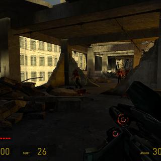 Francotirador Combine enfrentándose a un Zombi