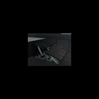 Los paneles formando una pequeña escalera en una cámara de prueba.