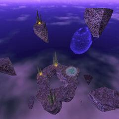 Misteriosas islas flotantes, aqui es donde el cañon desplazador te transporta por primera vez