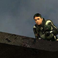 Barney acorralado por los Francotiradores sobre un edificio en Ciudad 17