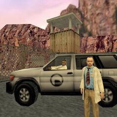 Bennet, Simmons, Rosenberg, y Calhoun en el SUV con el que escapan de Black Mesa