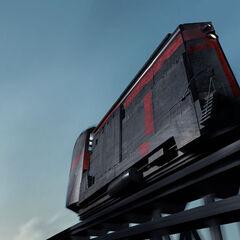 Arte conceptual de un tren razor que viaja a través del Yermo, basado en el mapa