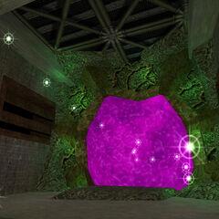 El portal del gusano rodeado de sprites
