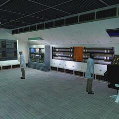 Científicos en la sala de control del Espectometro de Anti-Materia