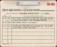 HHN 2000 Archive Registry