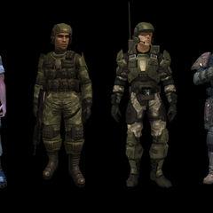 Marines in Halo: Combat Evolved, in Halo 2, in Halo 3 e in Halo: Reach (da sinistra a destra).