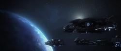 Flota Humana Prehistórica sobre Planeta Forerunner