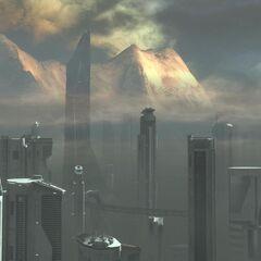 Die Stadt an einem nebeligem Tag