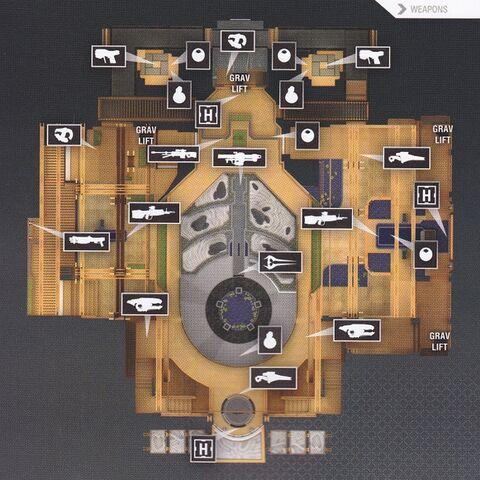 La mappa vista dall'alto, con tutte le armi, granate e kit di pronto soccorso presenti