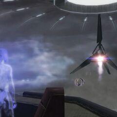 科塔娜看到无畏舰本体从城市的电网分离,并飞往地球。