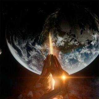 Vista panoramica del Compositore mentre fa fuoco sulla Terra.