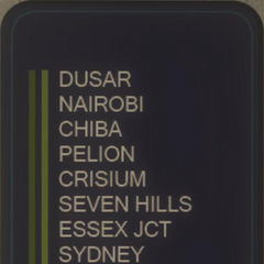 Anzeigetafel mit den Standorten