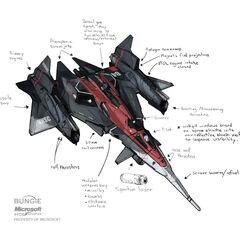 军刀号早期的一种概念设计。有意思的是它与《皇牌空战》系列的ADF-01 Falken战斗机有若干相似之处。