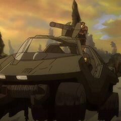 Der Warthog von Daisy und Sgt. Hauser auf ihrer Flucht