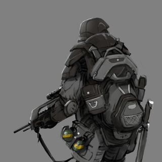Konzeptzeichnung mit Rucksack