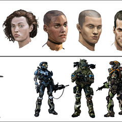 Concept art con i volti dei membri del Noble Team