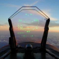 Ein HUD wie es im 20. und 21. Jahrhundert bei Flugzeugen verwendet wurde