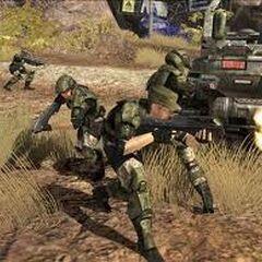Halo 3, marines nel livello Autostrada di Tsavo